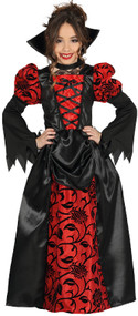 Girls Long Vampiress Fancy Dress Costume