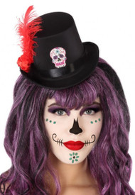 Ladies Halloween Sugar Skull Mini Hat