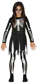 Girls Skeleton Bones Fancy Dress Costume