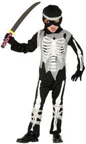 Boys Spooky Skeleton Ninja Fancy Dress Costume