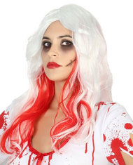 Ladies White/Red Halloween Wig