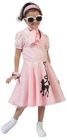 Girls Pink 1950s Fancy Dress Costume