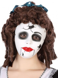 Ladies Broken Doll Fancy Dress Mask