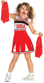 Girls Zombie Cheerleader Fancy Dress Costume