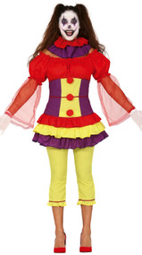 Ladies Creepy Clown Fancy Dress Costume