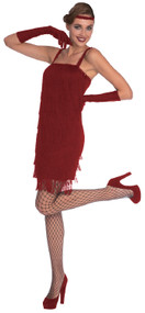 Ladies Red 20s Flapper Fancy Dress Costume