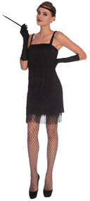Ladies Black 20s Flapper Fancy Dress Costume