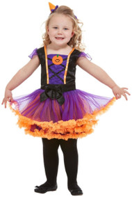 Toddler Girls Pumpkin Witch Fancy Dress Costume