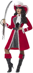 Ladies Deluxe Red Pirate Captain Fancy Dress Costume