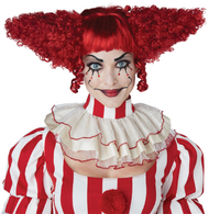 Ladies Red Creepy Clown Fancy Dress Wig
