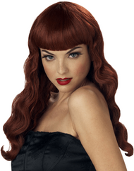 Ladies Red Pin Up Girl Fancy Dress Wig