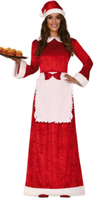 Ladies Traditional Mrs Claus Fancy Dress Costume