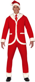 Mens Smart Santa Suit Fancy Dress Costume