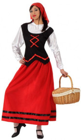 Ladies Red Innkeeper Fancy Dress Costume