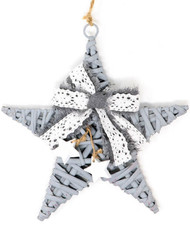 Festive Grey Hanging Star Christmas Decoration