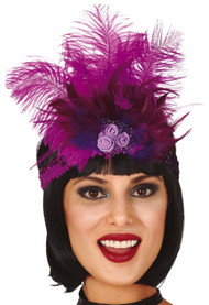 Ladies Pink Feather Flapper Fancy Dress Headband