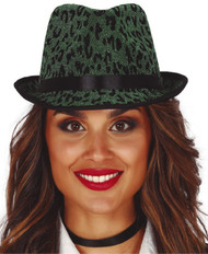 Adults Green Leopard Print Trilby Hat