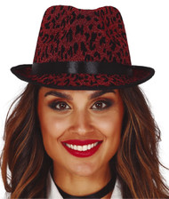 Adults Red Leopard Print Trilby Hat