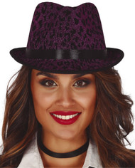 Adults Purple Leopard Print Trilby Hat