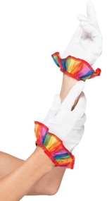 Adults Rainbow Clown Fancy Dress Gloves