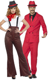 Couples Red 1920s Gangster Fancy Dress Costumes