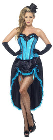 Ladies Blue Burlesque Dancer Fancy Dress Costume