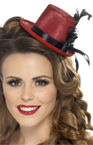 Ladies Red Mini Top Hat Accessory