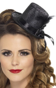 Ladies Black Mini Top Hat Accessory