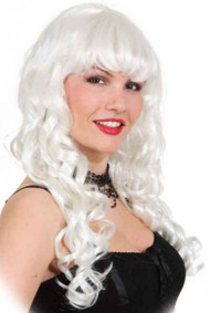 Ladies Long White Curly Wig