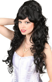 Ladies Long Black Renaissance Wig