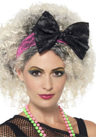 Ladies 80s Lace Bow Fancy Dress Headband