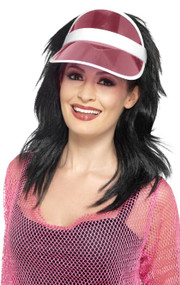 Adults Pink 80s Sun Visor Hat