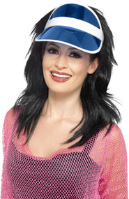 Adults Blue 80s Sun Visor Hat