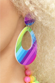 Ladies 80s Rainbow Fancy Dress Earrings