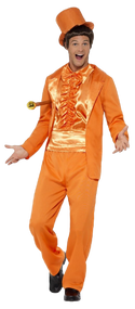 Mens Orange 90s Tuxedo Fancy Dress Costume