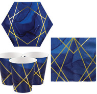 Navy & Gold Geode Party Tableware Set
