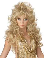 Ladies Long Blonde 80s Fancy Dress Wig