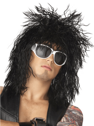 Mens Black 80s Rock Star Fancy Dress Wig