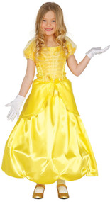 Girls Golden Princess Fancy Dress Costume