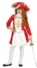 Girls Red Medieval Musketeer Fancy Dress Costume