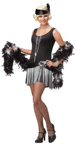 Ladies Rose Flapper Fancy Dress Costume