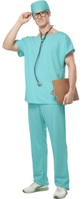Mens Doctor Scrubs Fancy Dress Costume