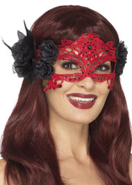 Ladies Red Filigree Masquerade Mask