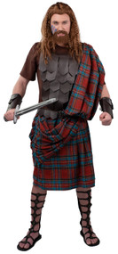 Mens Deluxe Scottish Highlander Fancy Dress Costume