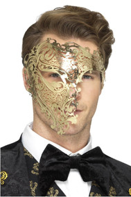 Mens Deluxe Gold Filigree Masquerade Mask