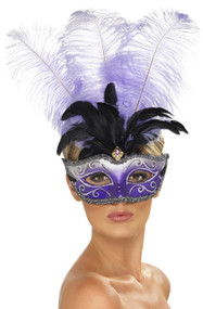 Ladies Purple Feather Venetian Eye Mask