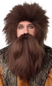 Mens Brown Bushy Caveman Wig & Beard
