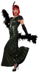 Ladies Green Sequinned 1920s Ballgown
