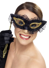 Ladies Black Lace Masquerade Mask