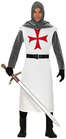 Mens White Medieval Knight Fancy Dress Costume
